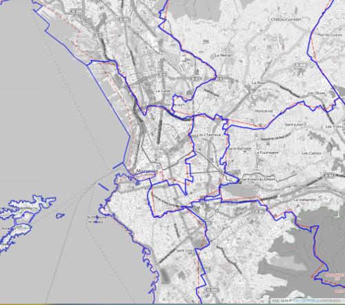 En bleu les nouveaux contours détaillés des circonscriptions des législatives